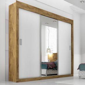Roupeiro-Casal-Panan-Dune-Premium-Glass-3-portas-de-correr---Canela-Branco