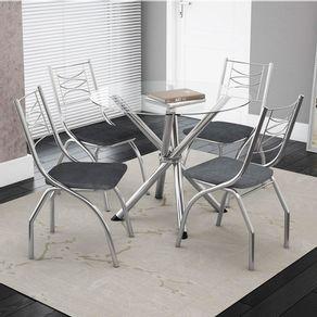 Conjunto-de-Mesa-Volga-com-4-Cadeiras---Tampo-Redondo-de-Vidro