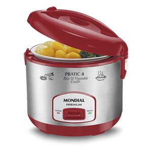 Panela-Eletrica-Mondial-Pratic-Rice---Vegetables-6-Red-Premium-127V