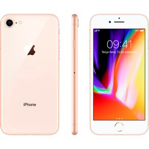 "iPhone-8-Apple-com-64GB-Tela-Retina-HD-de-47""-4G-e-NFC-iOS-11-Camera-de-12MP---Dourado"