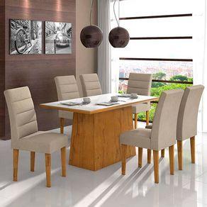 Kit-Mesa-de-Jantar-Lopas-Nevada-com-Tampo-5mm---6-Cadeiras-Fiorella-Rovere