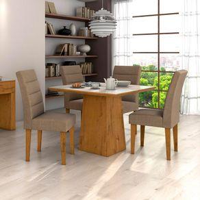 Kit-Mesa-de-Jantar-Lopas-Nevada-com-Tampo-5mm---4-Cadeiras-Fiorella-Rovere