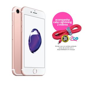 "Kit-Iphone-7-Apple-32GB-Ouro-Rose-4G-Tela-4.7""-Cam.-12MP-e-7MP-Traseira-iOS-11-Proc.-A10---Cabo-Lightning-2m"
