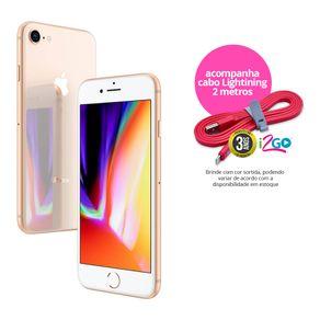 """Kit-iPhone-8-Apple-com-64GB-Tela-Retina-HD-de-47""""-4G-iOS-11-Camera-de-12-MP-Dourado---Cabo-Lightning-2m"""