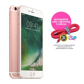 "Kit-Iphone-6s-Apple-32GB-Ouro-Rose-4G-Tela-4.7""-Cam.-12MP---Selfie-5MP-iOS-11-Proc.-A9---Cabo-Lightning-2m"