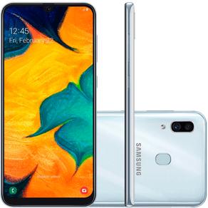 Smartphone-Samsung-Galaxy-A30-64GB-Tela-6-4-Processador-Octa-Core-Android-9-0-Camera-traseira-Dupla-branco
