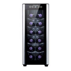 Adega Electrolux ACS12 para 12 garrafas com acabamento em alumínio escovado, preto