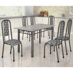 Conjunto-de-mesa-Madmelos-Paula-com-6-cadeiras-140x75cm-com-tampo-de-granito