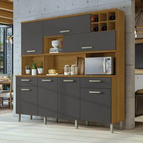 Cozinha-Nesher-Master-7-Portas-2-Gavetas-e-Adega-freijo-com-grafite-