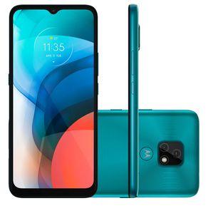 """Smartphone-Motorola-Moto-E7-32GB-2GB-RAM-Tela-de-6.5""""-Camera-Traseira-Dupla-Android-10-e-Processador-Octa-Core--aquamarine-"""